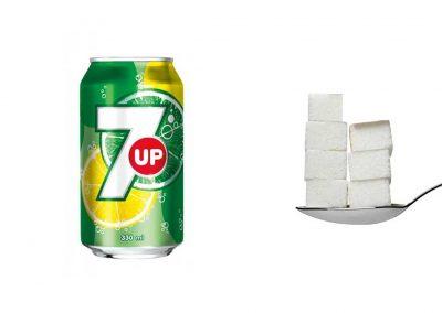 Une canette de 33 cl de 7up contient 34,3 g de sucre, soit 6,9 morceaux