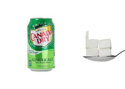 Une canette de 33 cl de Canada Dry contient 21 g de sucre, soit 4,2 morceaux.