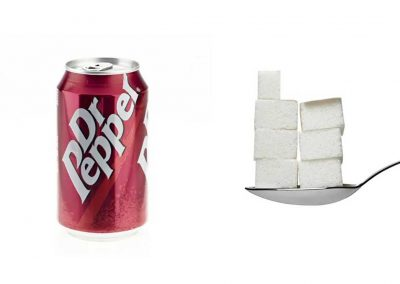 Une canette de 33 cl de Dr Pepper contient 33 g de sucre, soit 6,6 morceaux.