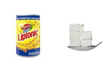 Une canette de 33 cl de Liptonic contient 26 g de sucre, soit 5,2 morceaux.