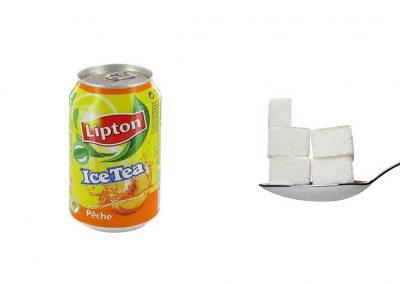 Une canette de 33 cl d'Ice Tea à la pêche contient 23 g de sucre, soit 4,6 morceaux.