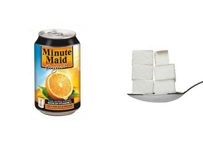 Une canette de 33 cl de Minute Maid à l'orange contient 29 g de sucre, soit 5,8 morceaux.