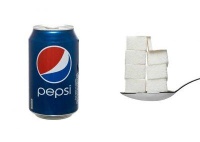 Une canette de 33 cl de Pepsi contient 36 g de sucre, soit 7,2 morceaux.