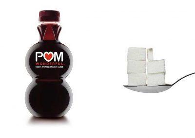 Une bouteille de 19 cl de Pom Wonderful contient 26,6 g de sucre, soit 5,3 morceaux.