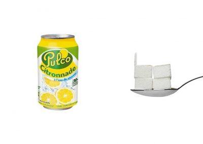 Une canette de 33 cl de Pulco Citronnade contient 20,5 g de sucre, soit 4,1 morceaux.