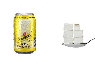 Une canette de 33 cl de Schweppes Indian Tonic contient 28,7 g de sucre, soit 5,7 morceaux