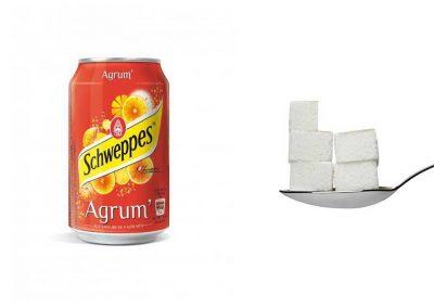 Une canette de 33 cl de Schweppes Agrum' contient 23,4 g de sucre, soit 4,17 morceaux.