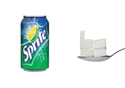 Une canette de 33 cl de Sprite contient 22 g de sucre, soit 4,4 morceaux.