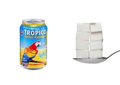 Une canette de 33 cl de Tropico saveur exotique contient 39,6 g de sucre, soit 7,9 morceaux.